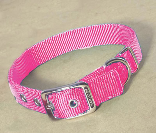 Hamilton Double Thick Deluxe Hot Pink Nylon Buckle Collar 1 x 20 Inch