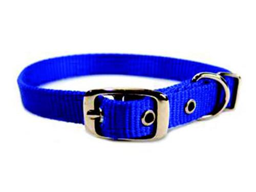 Hamilton Single Thick Deluxe Blue Nylon Buckle Collar 5/8 x 18 Inch