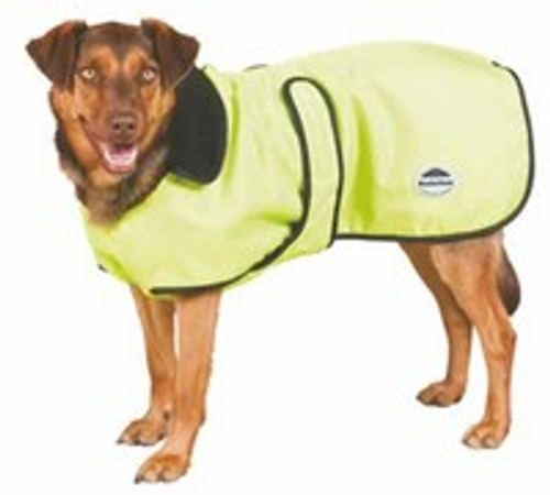 WeatherBeeta Yellow/Black Fleece Lined Windbreaker Dog Jacket 24