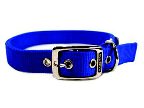 Hamilton Double Thick Deluxe Blue Nylon Buckle Collar 1 x 24 Inch