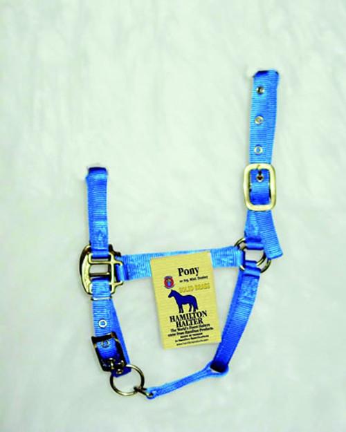 Hamilton Blue Nylon Halter With Snap, Pony