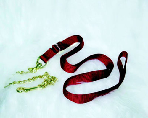 Nylon Horse Lead With Chain, Red