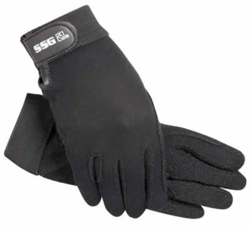 SSG Velcro Wrist Black Gripper Horse Riding Gloves