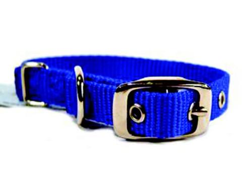 Hamilton Single Thick Deluxe Blue Nylon Buckle Collar 5/8 x 14 Inch