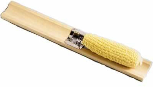 Lees Corn Cutter with Wood Holder and Stainless Steel Blade