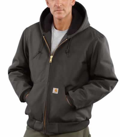 Carhartt Duck Active Black Quilted Flannel Lined Jacket with Hood