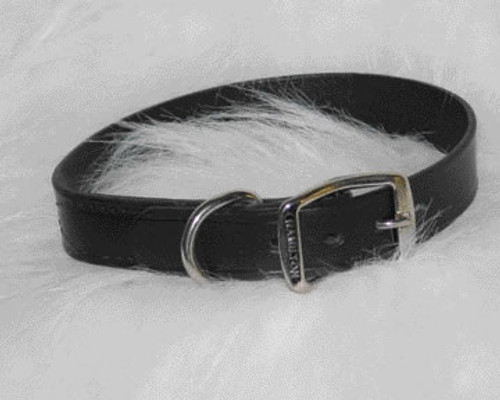 "Hamilton Black Creased Leather Collar, 1"" x 24"