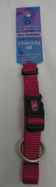 "Hamilton Raspberry Adjustable Nylon Dog Collar, 5/8"" x 12-18"