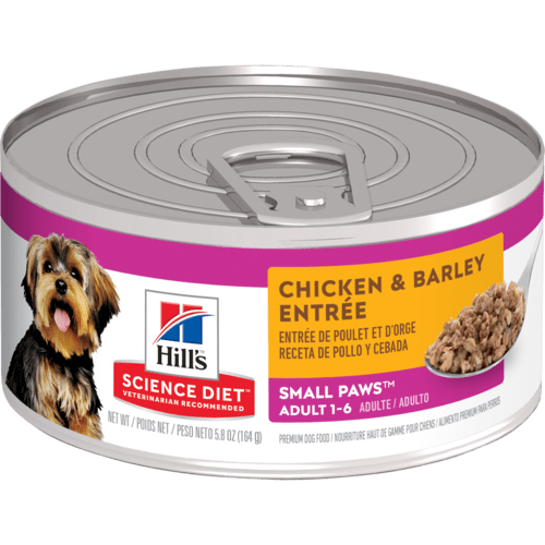 Hill's Science Diet Adult Small Paws Chicken & Barley Entree Canned Dog Food, 5.8 Oz.