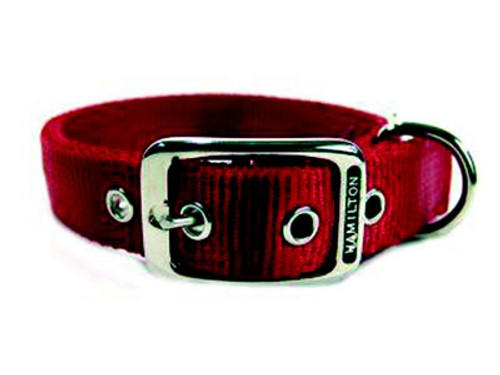 Hamilton Double Thick Deluxe Red Nylon Buckle Collar 1 x 20 Inch