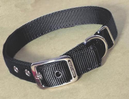 Hamilton Double Thick Deluxe Black Nylon Buckle Collar 1 x 32 Inch