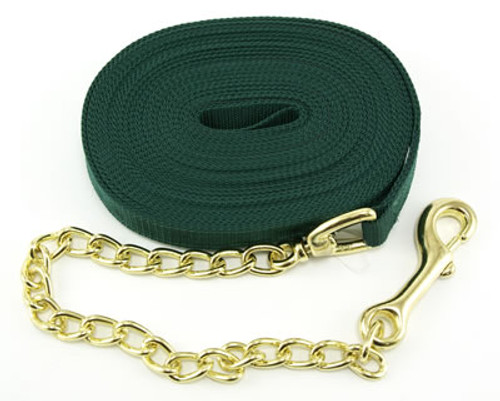 Intrepid Nylon Horse Lunge Line With Chain, Green
