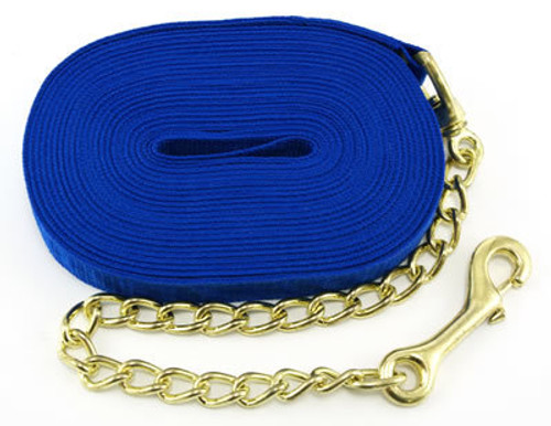 Intrepid Nylon Horse Lunge Line With Chain, Blue