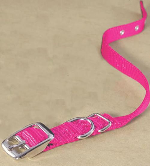 Hamilton Single Thick Deluxe Hot Pink Nylon Buckle Collar 5/8 x 14
