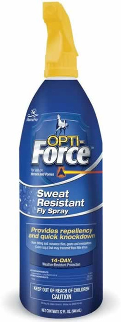 Manna Pro Opti-Force Sweat Resistant Fly Spray for Horses 32 Ounces