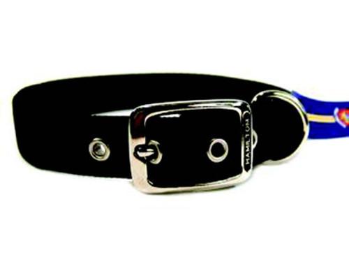 Hamilton Double Thick Deluxe Black Nylon Buckle Collar 1 x 24 Inch