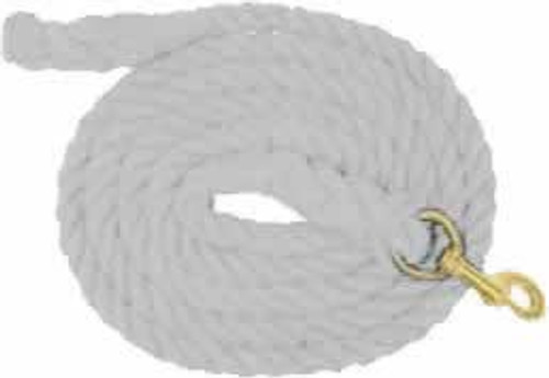 White Cotton Lead Rope, 3/4 Inch x 10 Feet