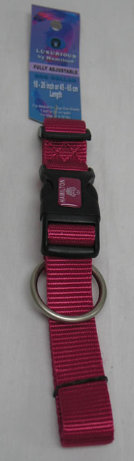 "Hamilton Raspberry Adjustable Nylon Dog Collar, 1"" x 18-26"