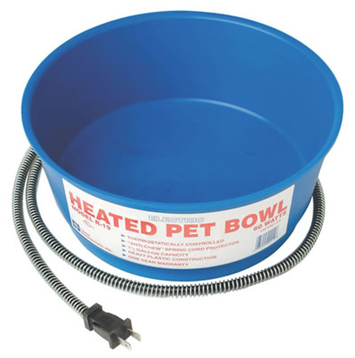 Heated Blue Round Pet Bowl, 1.5 Gallon