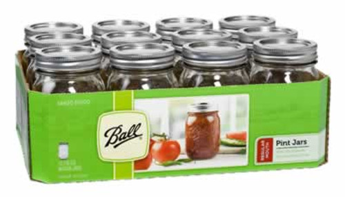 Ball Regular Mouth 1 Pint Mason Jars, 12 Pack