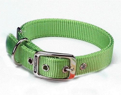 Hamilton Double Thick Deluxe Lime Nylon Buckle Collar 1 x 20 Inch