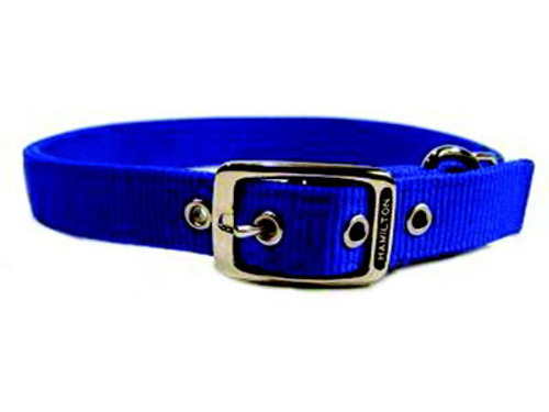 Hamilton Double Thick Deluxe Blue Nylon Buckle Collar 1 x 26 Inch