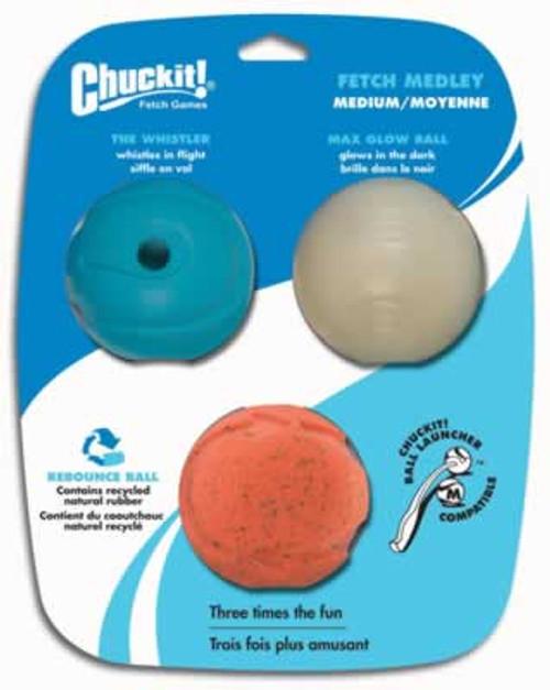 Chuckit! Fetch Medley Balls, 2.5 Inch, 3 Pack