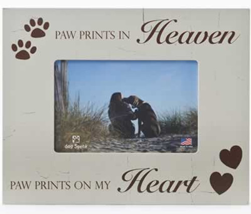 Dog Speak Paw Prints in Heaven Picture Frame