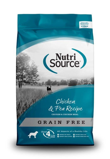 NutriSource Grain-Free Chicken and Pea Formula Dry Dog Food, 5lb