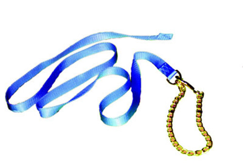 Nylon Horse Lead With Chain, Blue