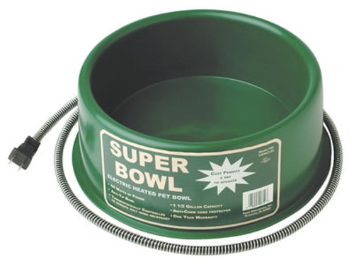 Heated Green Round Pet Bowl, 1.5 Gallon
