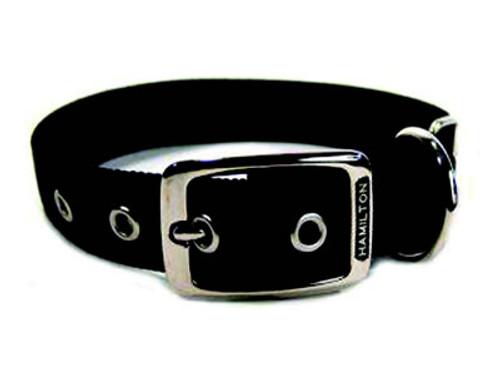 Hamilton Double Thick Deluxe Black Nylon Buckle Collar 1 x 20 Inch