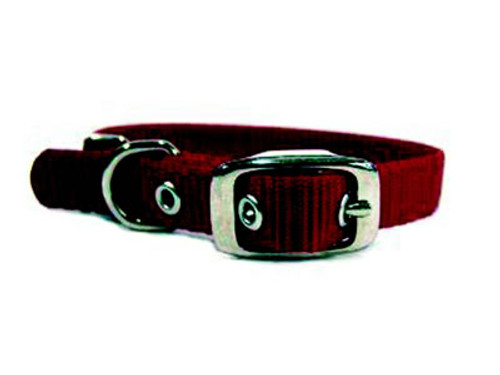 Hamilton Single Thick Deluxe Red Nylon Buckle Collar 5/8 x 14 Inch