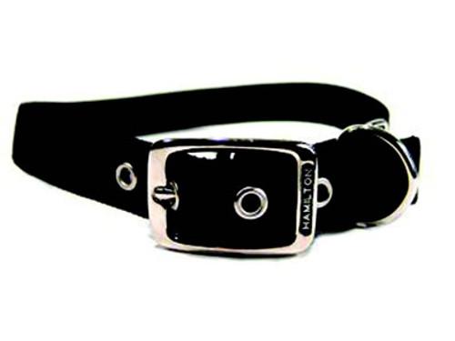 Hamilton Double Thick Deluxe Black Nylon Buckle Collar 1 x 26 Inch