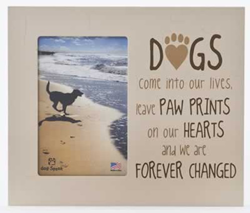 Dog Speak Paw Prints on our Hearts Picture Frame