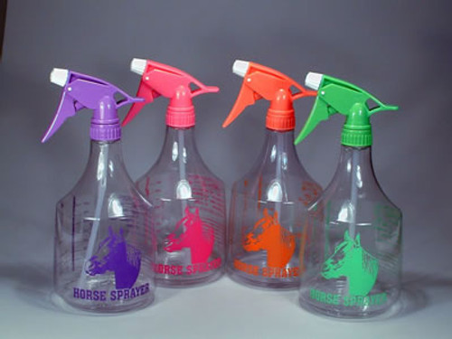 Neon Pink Spray Bottle With Horse Head, 36 Ounce