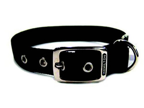 Hamilton Double Thick Deluxe Black Nylon Buckle Collar 1 x 22 Inch