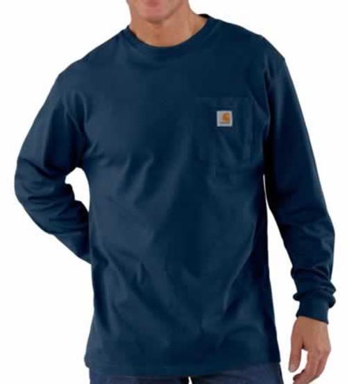 Carhartt Long Sleeve Workwear Navy Pocket T-Shirt