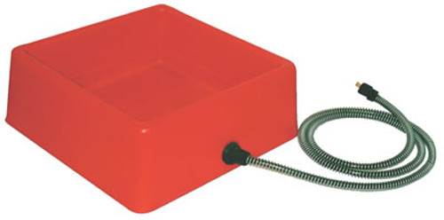 Heated Red, Square Pet Bowl, 1.25 Gallon