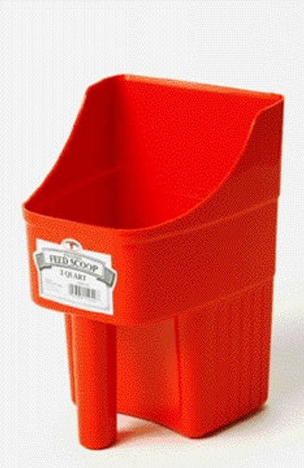 Enclosed 3 Quart Red Feed Scoop