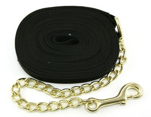 Intrepid Nylon Horse Lunge Line With Chain, Black