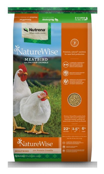 Nutrena NatureWise Meatbird 22% Crumbles Poultry Food 40 Pounds