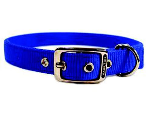 Hamilton Double Thick Deluxe Blue Nylon Buckle Collar 1 x 28 Inch