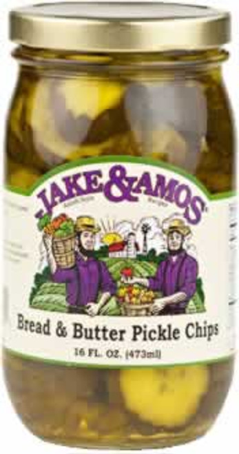 Jake and Amos Bread and Butter Pickle Chips 16 Ounces