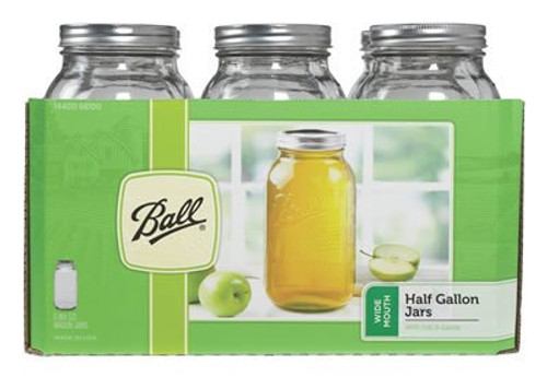 Ball 1/2 Gallon Wide Mouth Mason Jar With Cap, 6 Per Case