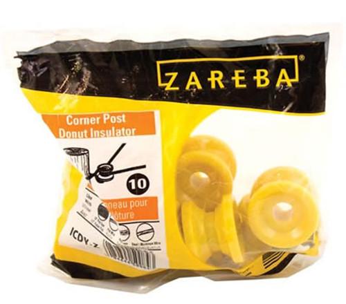 Zareba Corner Post Donut Insulator, 10 Pack, Yellow