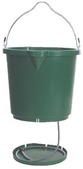 Heated Flat Back Green Water Bucket, 5 Gallon