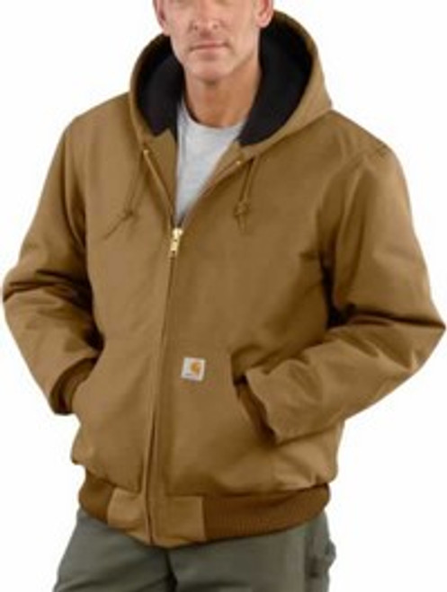 Carhartt Duck Active Brown Quilted Flannel Lined Jacket with Hood