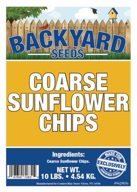 Backyard Seeds Coarse Sunflower Chips Bird Seed 10 Pounds