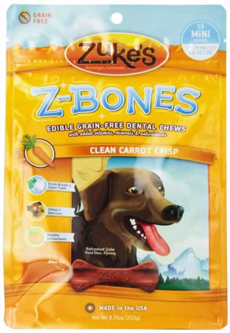 Zukes Z-Bones Carrot Grain Free Dental Dog Treats